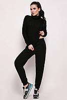 Стильный вязаный женский костюм  теплый черный