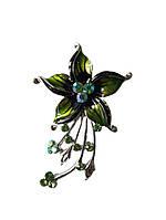 Брошь (брошка) Цветок Серебряная эмаль с зелеными стеклянными стразами 7x4 см 1 шт