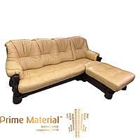 """Четырехместный кожаный диван """"Амстердам"""" с оттоманкой"""