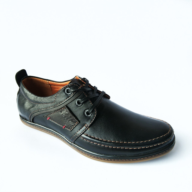 Харьковская фабрика мужской обуви ydg туфли кожаные, черного цвета с строчкой, на шнуровке, повседневные