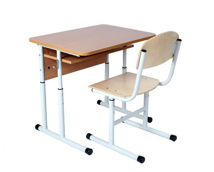 Комплект: стол ученический 1-местный с полкой, №4-6 + стул Т-образный, №4-6 Круглая труба