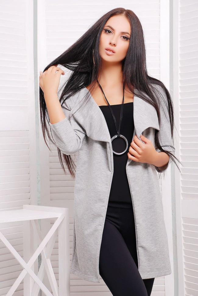Бавовняний довгий жіночий кардиган з рукавом 3/4 сірий меланж