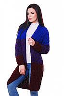 """Молодежный женский вязаный трехцветный кардиган фактурный в косичку """"LOLO M"""" электрик и марсала"""