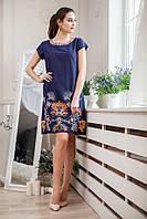 Платье молодёжное из натуральной лёгкой ткани c вышивкой синего цвета