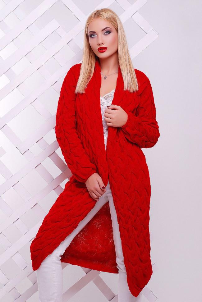 Длинный теплый женский кардиган крупной вязки красный