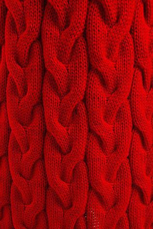 Длинный теплый женский кардиган крупной вязки красный, фото 2