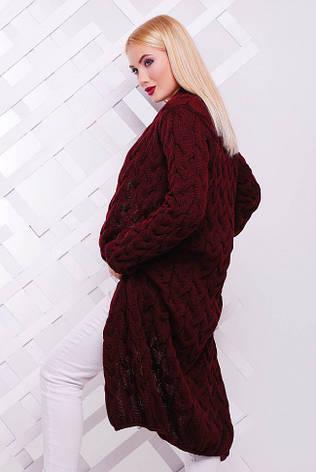 Длинный теплый женский кардиган крупной вязки марсала, фото 2