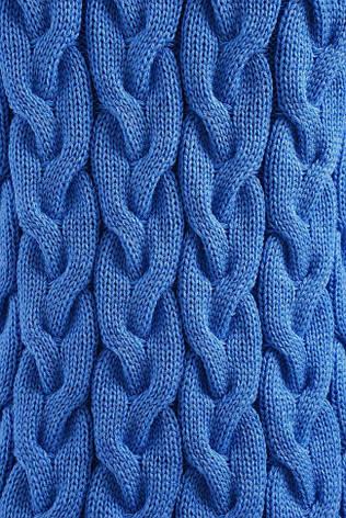 Длинный теплый женский кардиган крупной вязки голубой, фото 2