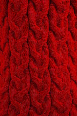 """Яркий теплый вязаный кардиган оверсайз выше колен с объемным узором """"LOLO"""" красный, фото 2"""