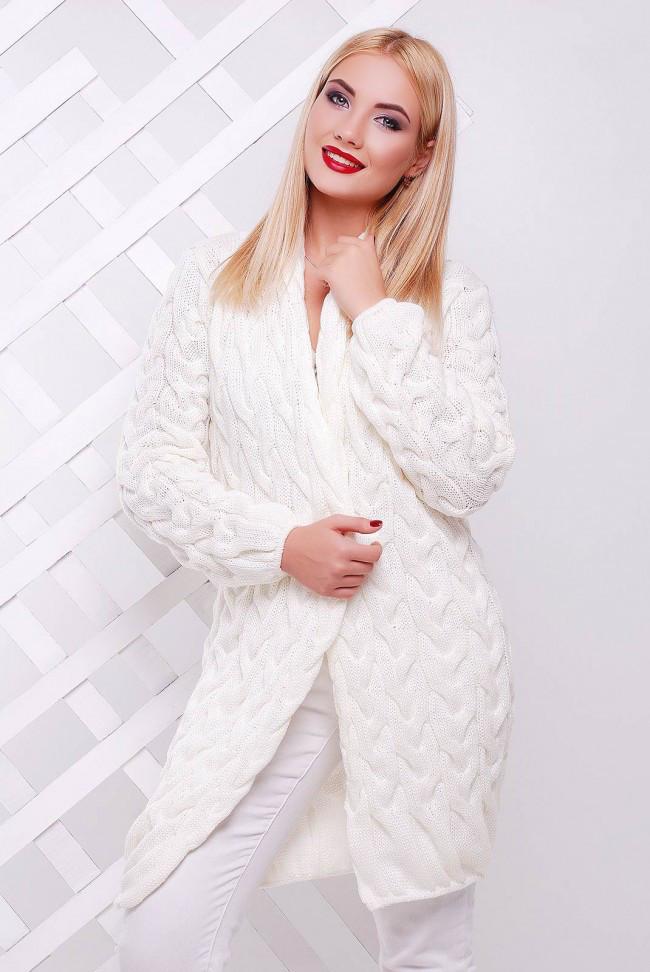 """Красивый женский вязаный теплый кардган в крупную косичку короткий """"LOLO"""" белый"""