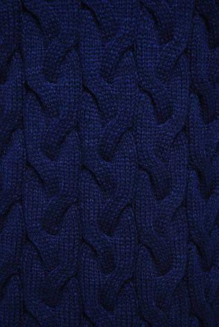 "Женский свободный короткий вязаный кардиган без пуговиц ""LOLO"" темно-синий, фото 2"