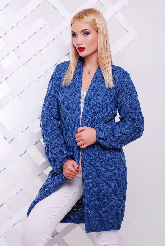 Модный вязанный женский кардиган синий