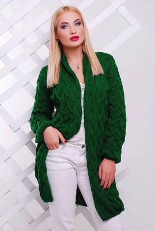 "Зеленый женский кардиган крупной вязки короткий ""LOLO"", фото 2"