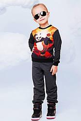 Красивый детский костюм с принтом Кунг-фу Панда темно-серый