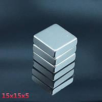 Пластина квадрат неодимовый 15х15х5 мм, сцепление 5кг, N42