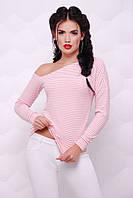 """Женская персиковая кофта в полоску с открытым плечом, длинный рукав """"Natalie"""""""