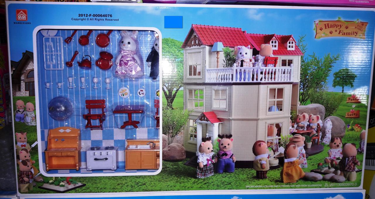 Игровой домик Happy Family 012-10 аналог Sylvanian Families со световыми эффектами, мебел