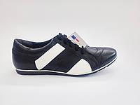 Кожаные польские мужские черные спортивные туфли 42р