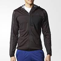 Олимпийка спортивная мужская adidas Cool365 AY3927 (черная, полиэстер, на молнии, с логотипом адидас), фото 1