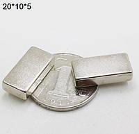 Прямоугольник магнит неодимовый 20х10х5мм , сцепление 6кг, N42