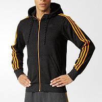 Толстовка спортивная мужская adidas ESS THE HOOD AP1224 (черная, хлопок, для тренировок, с логотипом адидас)