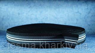 Резинка для подтяжек 30 мм чёрный/серый/белый/чёрный