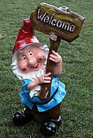 Гном с табличкой «Welcome» H-80см, фото 1
