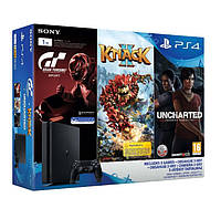 Sony PlayStation 4 Slim 1TB (CUH-2016B) + Gran Turismo Sport + Knack 2 + Uncharted The Lost Legacy