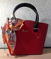 Женская сумка деловая из эко кожи красная + яркий платочек