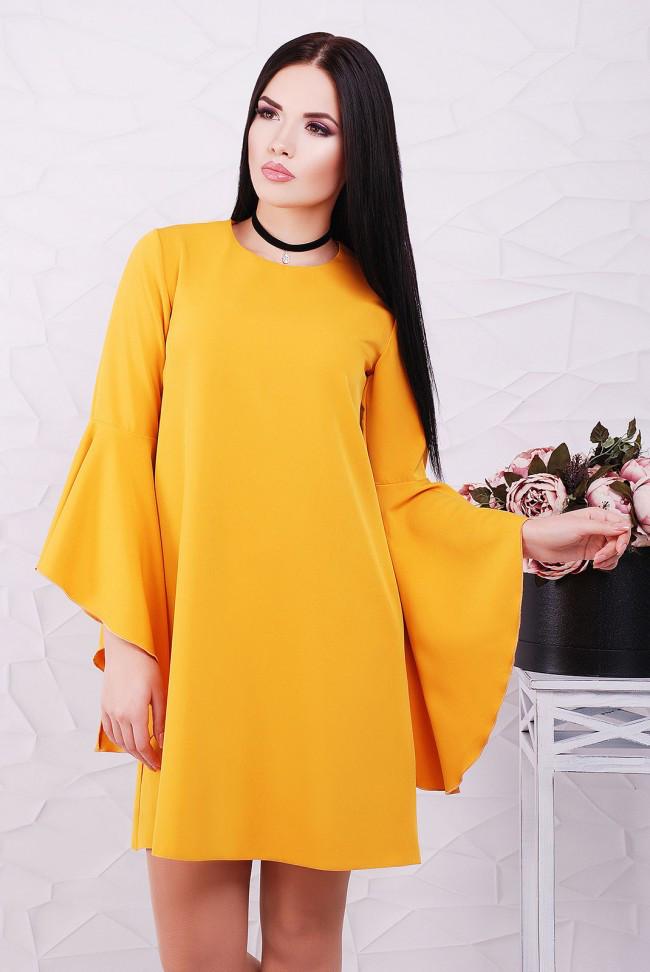 8bf34f9ee673 Красивое свободное горчичное платье-трапеция, рукав волан