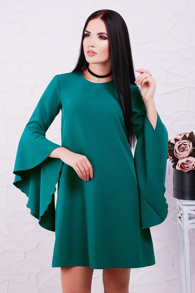 33bdfafef350 Красивое свободное изумрудное платье-трапеция, рукав волан