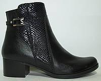 Ботинки женские кожаные черные, ботинки кожа женские от производителя модель КА318-02