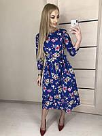 Платье миди с  с рукавом три четверти, цветочный принт / 3 цвета арт 4484-564