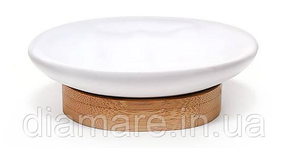 Мыльницы для ванной комнаты керамическая на бамбуковой подставке 10 см,цвет белый