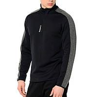 Олимпийка спортивная мужская Reebok 1/4 ZIP AJ2923 (черная, замок 1/4, для тренировок, с логотипом рибок)