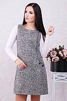 "Короткое теплое платье-сарафан из твида с карманом ""Leonora"" снежинка серебро"