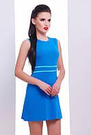 """Стильное летнее женское мини платье по фигуре синее с голубым, без рукавов """"Linda"""""""