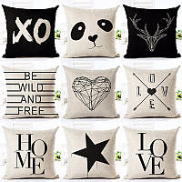Различные подушки Стиль Подушка для домашнего софа Авто Офисная звезда Panda Отпечатанная хлопковая льняная наволочка