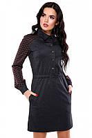 """Офисное теплое платье с длинным рукавом на кнопках, синее с бордовой клеткой """"Marisel"""""""