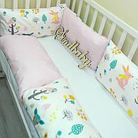 Защитные бортики из сатина для детской кроватки -13