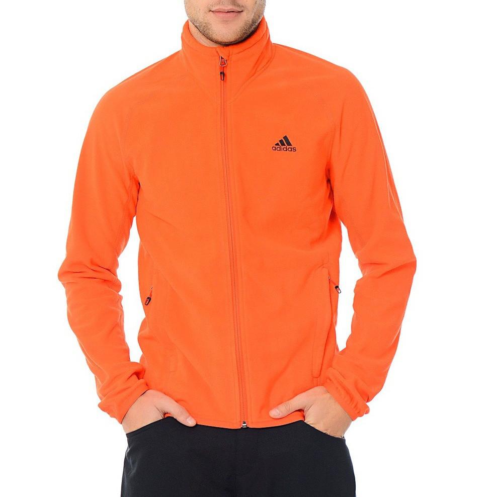 Олимпийка спортивная мужская adidas Hiking Fleece F95714 (оранжевая, флисовая, молния YKK, с логотипом адидас)