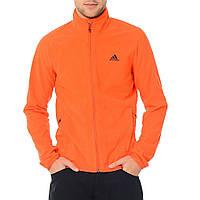 Толстовка спортивная мужская adidas Hiking Fleece F95714 (оранжевая, флисовая, молния YKK, с логотипом адидас)