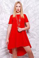 """Красивое асимметричное красное платье-трапеция с коротким рукавом """"Tail"""""""
