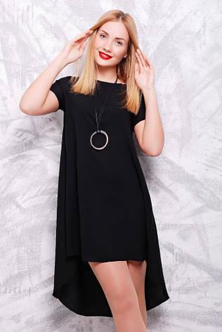 601d99e3600 Красивое асимметричное черное платье-трапеция с коротким рукавом