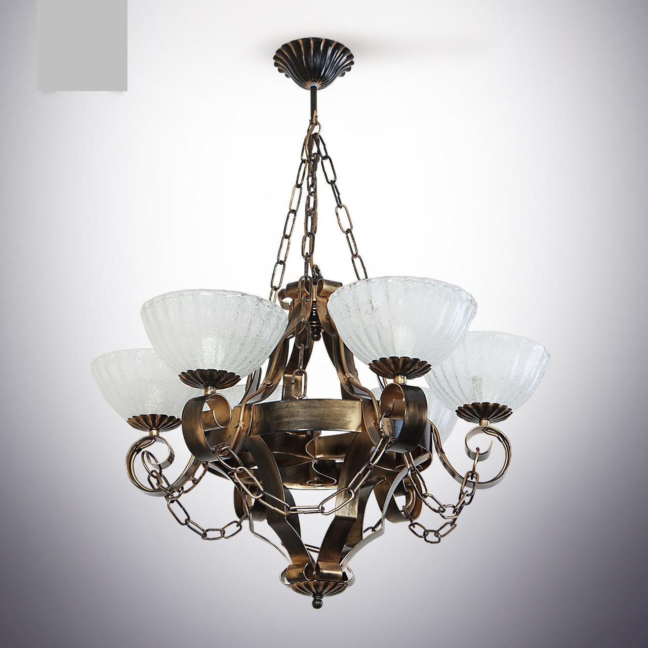 Люстра из дерева колесо 6 ламповая для кухни, кафе, ресторанов 19206