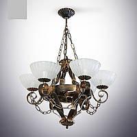 Люстра из дерева 6 ламповая для кухни, кафе, ресторанов 19206