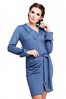 """Стильное офисное платье цвета светлый джинс с поясом, манжетами и вырезом спереди """"Teresa"""""""