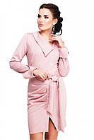"""Стильное офисное платье цвета пудра с поясом, манжетами и вырезом спереди """"Teresa"""""""