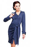 """Стильное офисное платье цвета темный джинс с поясом, манжетами и вырезом спереди """"Teresa"""""""