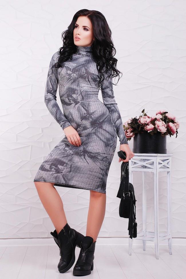 5b5b9e07100fba8 Трикотажное серое платье-гольф в рубчик с длинным рукавом, абстрактный  принт -